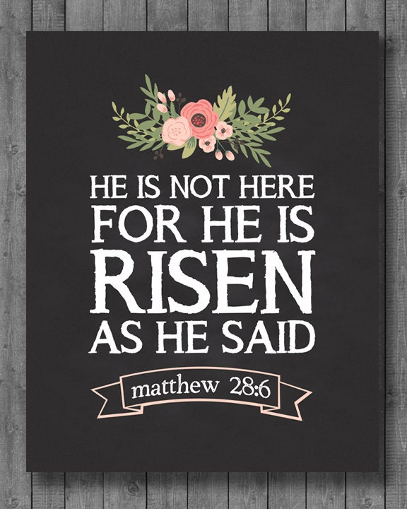 easter print instant download he is risen 8x10 16x20