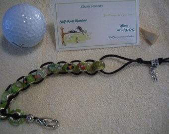 Golf Score Counter with Green Murano Glass Beads & Girl Charm