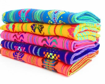 Aztec fabric, Mexican Fabric Bundle, Mexican fabric by the yard,colorful tribal fabric by the yard. latin american, houseware, embroidered.