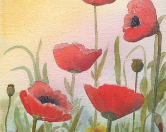 Watercolour Print, Red Poppies, Gift Idea, Art and Collectibles