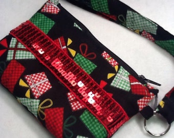 Christmas Holiday Coin Purse with Red Sequin and Wrist Strap