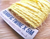 Butter Yellow Jute Twine (5m) with Brown Kraft Shipping Tag - Thick Spool Of Natural Twine; Eco-Friendly - Gloriousmess