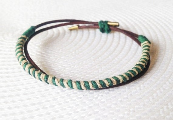 Mens leather bracelet - green, cream and brown