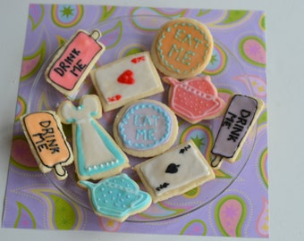 1 dozen Vegan or Gluten Free Cookies -Alice in Wonderland Cookies - Sugar Cookies