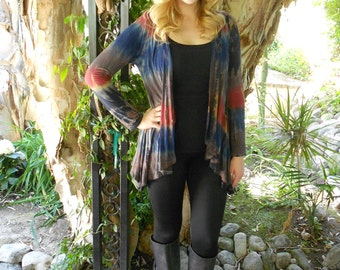 Plus Size Cardigan, Tie Dye, Cardigans, Tie Dye Cardigan, Plus Size Clothing, Navy, Rust, Brown & Black, Plus Size Only