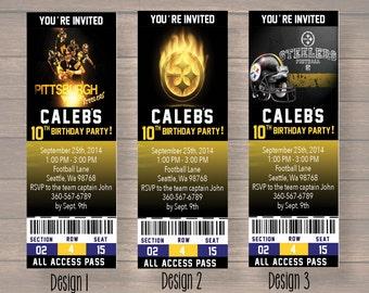 Pittsburgh steelers, Custom Party Ticket Invitations, Birthday Invitation, Pittsburgh steelers Birthday Ticket, digital file
