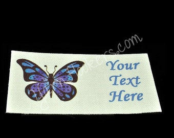 "Blue Butterfly - ""Iron On"" or ""Sew In"" - Cotton Fabric Labels (White) - For Crochet, Knit, Sew and Quilt Heirlooms"