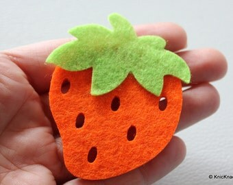 2 x Orange Strawberry Huge Felt Applique Patch