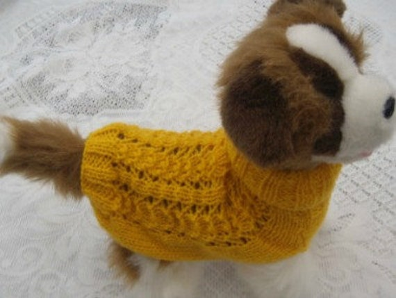 Hand Knitted Patterns For Dog And Cats Coats : Dog clothes / cats beautiful hand knitted yellow by CUTIEDOG
