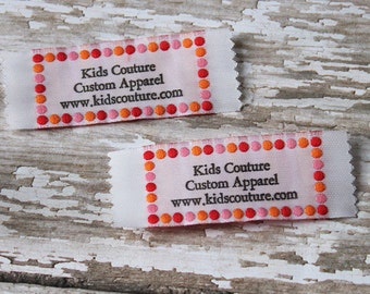 Woven Fabric Labels, Knitting Sewing Tags and Labels, Polka Dot design Imprinted with your own text