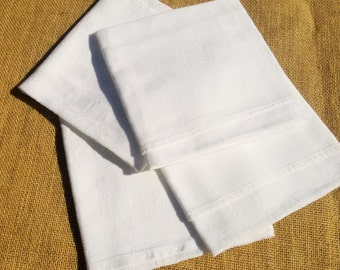 4 White Damask Napkins Antique French Handmade Napkins Cotton Made