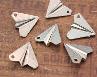 10 Paper Airplane Charms Pendants Antiqued Silver Double Sided 3D 18 x 18 x 4 mm