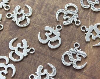 10 Om Aum Ohm Charms Om Aum Ohm Pendants Antiqued Silver Tone 14 x 14 mm