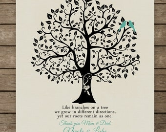 "Personalized Wedding Gift Love Birds Family Tree Branch Anniversary Gift Wedding Gift Art Poster Print - 8""x10"" You choose colors 8 x 10"