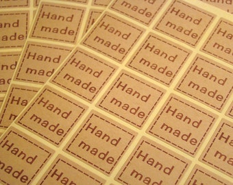 """100 """"Hand Made"""" Kraft Stickers Square Gift Tags Gift Wrapping Handmade Tags Product Labels"""