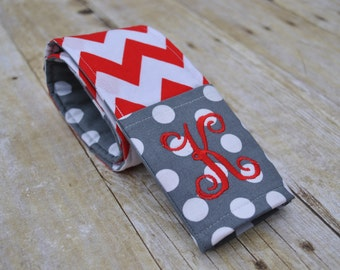Monogrammed camera strap cover (Red/gray)