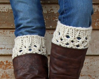 Chunky Lace Boot Cuff Knitting Pattern - INTEGRITY - a set of instructions to knit the boot cuffs