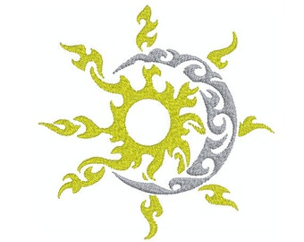 Machine Embroidery Design Instant Download - Tribal Sun Moon 1