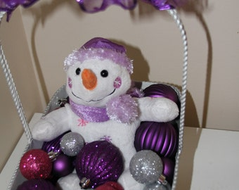 Christmas Snowman Centerpiece - Silver, Pink, and Purple Holiday Basket of Sparkliness