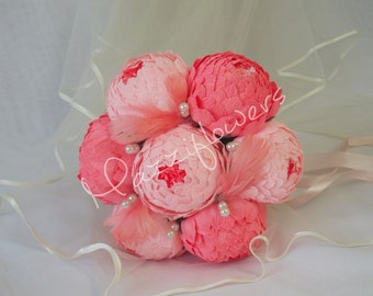 Wedding bouquet, Bridal bouquet,paper flower bouquet,wedding peony,salmon-raspberry,paper flowers,bridal flower,peonies bouquet,