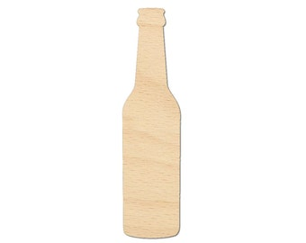 Beer Bottle Cutout Shapes Crafts, Gift Tags Jewelry display ornament Laser Cut Birch Wood Various Sizes, Style 1002