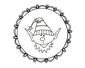 Christmas Elf Gnome Embroidery Pattern Digital Downloadable PDF Scalloped Frame 0032