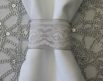 SOLD IN SETS of 10 - Grey/Silver Organza and White Lace Napkin Rings