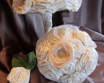 Wedding Bouquet - Satin Ivory/Voile Fabric Flower Bouquet - Bridal Wedding Bouquet  fabric flower bouquet