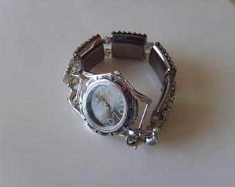 Double Stranded Fancy Black Beaded Watch Band Set (236)