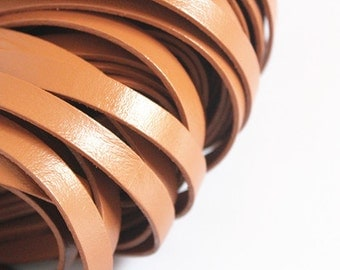 10mm Real Flat Leather Cord, 10feet Leather Strip, Light Brown Genuine Flat Leather String, Jewerly Leather String Cord