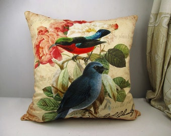 Elegant velvet square pillow cushion cover bird & flower pattern on both sides optional sizes/sofa pillow/car pillow/bed pillow