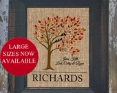 Fall LOVE BIRDS Personalized Burlap Family Name Birds on the Tree Wall Art Couples wedding gift, guest book display