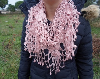 free worldwide shipping, ready to ship, handmade mohair triangle crochet shawl,cowl,neckwarmer with soft pink flowers