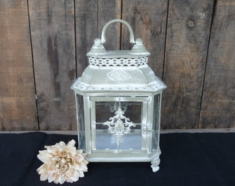 Ornate Distressed Green with White Wash Metal with Glass Lantern ~ Old  World ~ Candle Holder ~ Wedding Centerpiece Elegant Decor