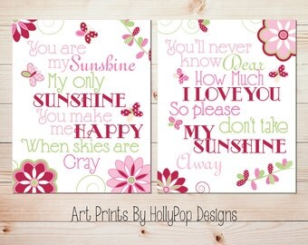Sunshine Art Baby Girl Wall Decor You Are My Sunshine Baby Art Butterfly Bedroom Art Toddler