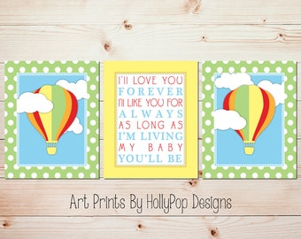 Baby Boy Nursery Art Nursery Wall Decor Nursery Art Prints Hot Air Balloon Decor I'll Love You Forever Quote Bright Colorful Nursery #0813