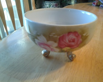 Lefton China Hand Painted Footed Pink Rose Bowl With Gold Accents