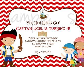 Jake and the Neverland Pirates Birthday Invitation Inspired