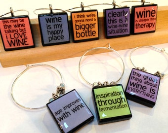 Funny Wine Sayings Custom Scrabble Tile Wine Glass Charms