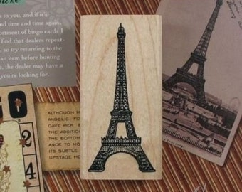 Vintage Paris Tower / Eiffel Wood Rubber Stamp for Scrapbooking / Card Making
