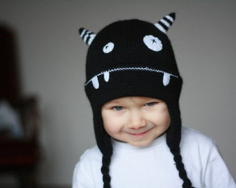 Shy Monster knitted children hat - Child knit hat - Infant monster hat  - Kids monster knitted hat