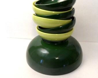 Glass salad bowl set / Hazel Atlas Ovide Chartreuse Green  7 pc  / retro salad bowl , retro kitchen serving