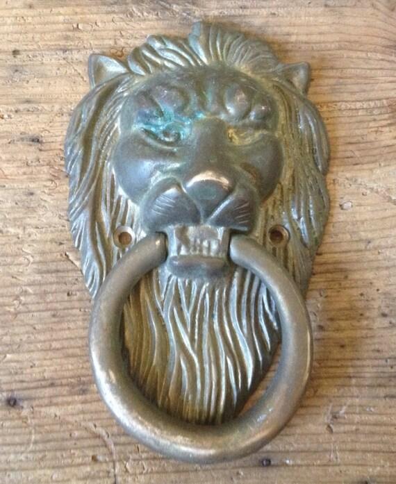 Lions head brass door knocker safari home by fridasclosetco - Lions head door knocker brass ...