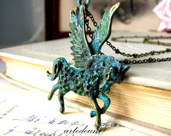 Winged Horse Necklace Pegasus Fantasy jewelry Verdigris Blue Antique vintage Mythology jewelry Mythical Creatures Gift for her