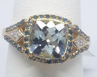 Aquamarine 2.15ct Cushion w Blue And White .24ctw Round 10k Yellow Gold Ring Size 7