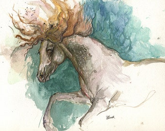 the andalusian horse original watercolor painting