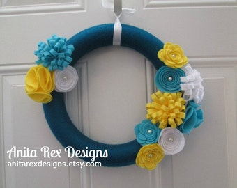 Summer Wreath, Yarn Wreath, Teal, Yellow, Turquoise Yarn and Felt Flower Wreath, Door Wreath