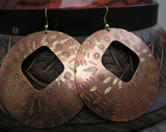 Copper Mixed Metal Round Earrings