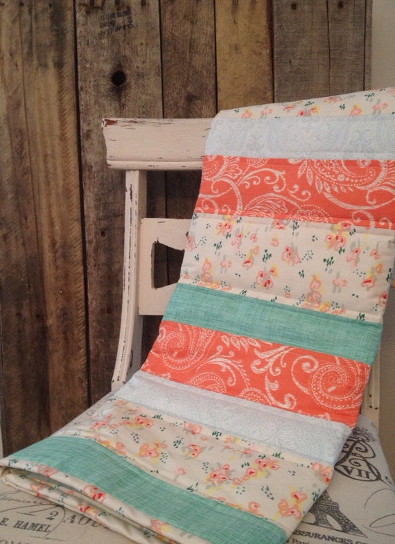 Touch Of Vintage Baby Quilt Lace Coral Peach Mint Blue