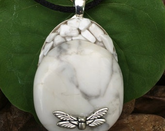 White Howlite Dragonfly Pendant Handmade New Age Earth Love Metaphysical Magick Pagan Wicca Hippie Bohemian